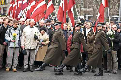 March of SS veterans in Riga, Latvia in 2009. Balts consider them freedom fighters; Russians say they were war criminals. As usual, the truth is probably somewhere in between.