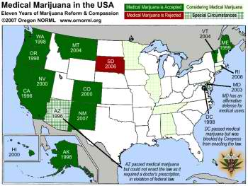 The cool states are colored green.