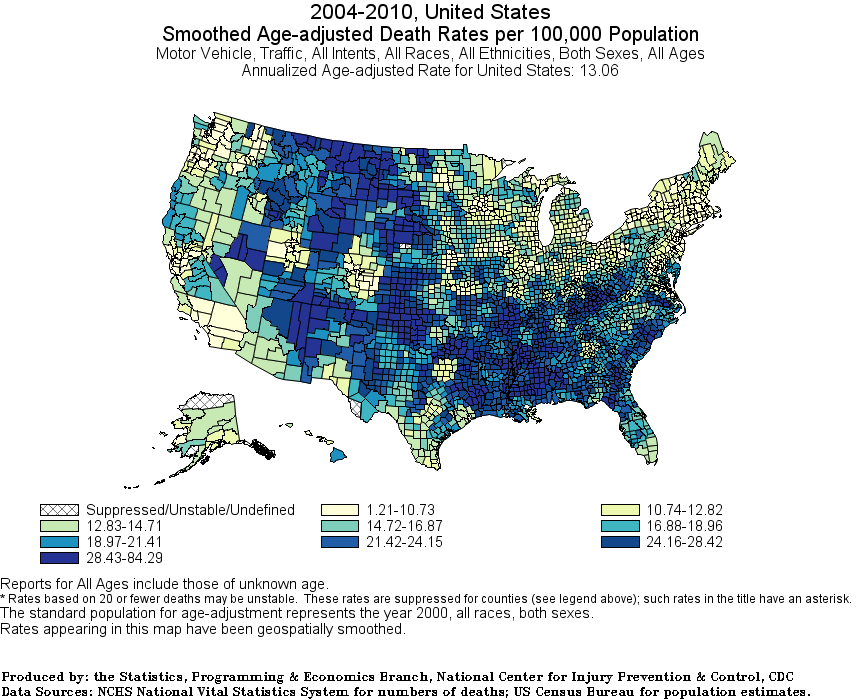 White Age-Adjusted traffic death rates county 2004-2010