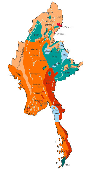Ethnolinguistic map of Burma