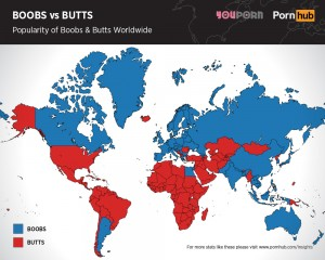 Blue = boobs, red = butts. Source: Pornhub.
