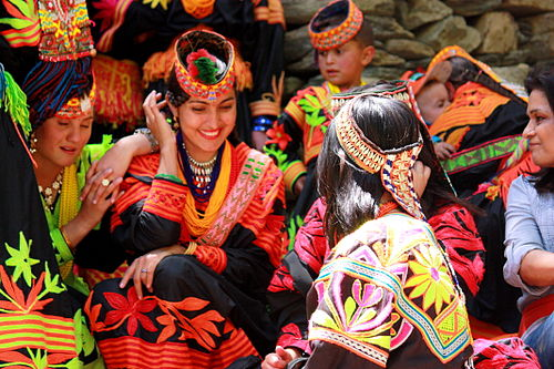 Kalash women in traditional clothing