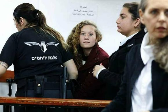 Ahed Tamimi in military court this morning, from Tali Shapiro's twitter feed.