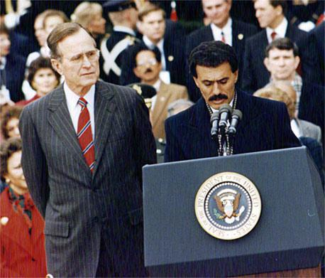Photo One World: George H. W. Bush and Yemen's Ali Abdullah Saleh