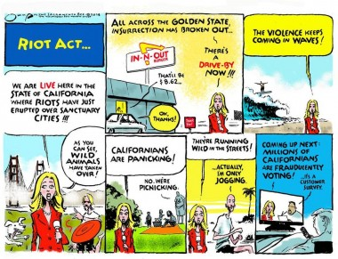 Jack Ohman cartoon, The Sacramento Bee: California is a riot!