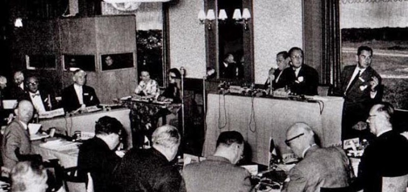 Prince Bernard presides over the first annual Bilderberg meeting in 1954.