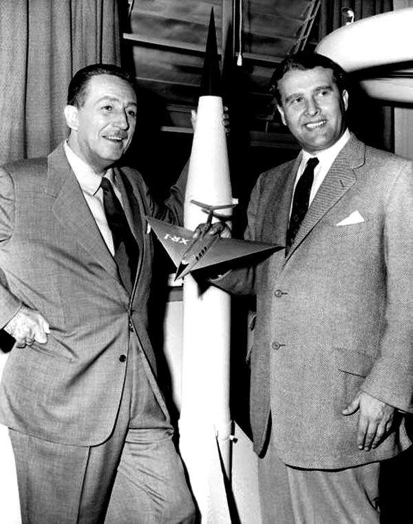 "Walt Disney with Wernher von Braun, ""Father of Rocket Science"", in 1954"