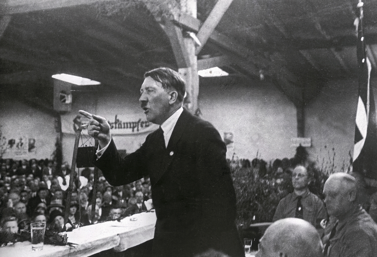 Adolf Hitler holding a speech, about 1925.