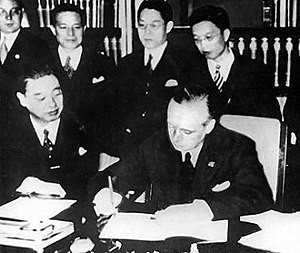 Joachim von Ribbentrop signing the Anti-Comintern Pact