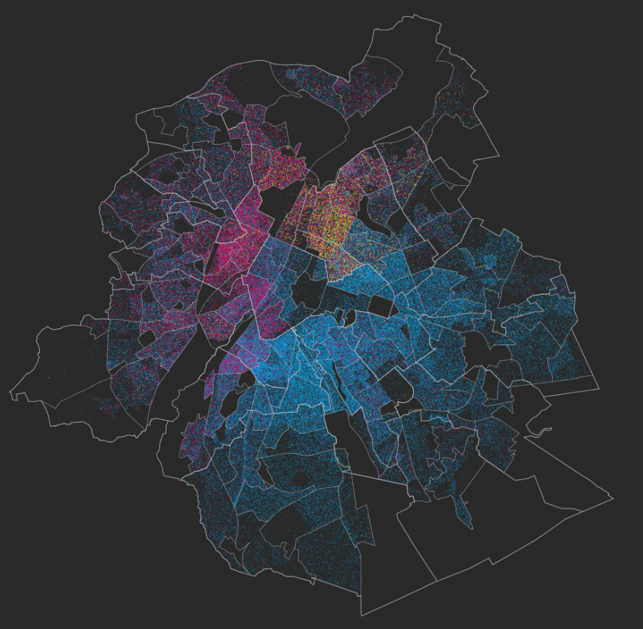 """Segregation is present in Brussels. Foreigners from North Africa [pink], Turkey [yellow] and EU15 (15 first members of the European Union [blue]) are living in opposite regions of the city."" (source)"