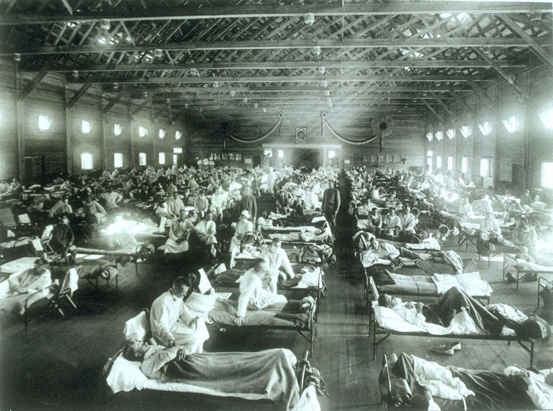 Soldiers ill with the Spanish flu at Fort Riley, Kansas, in 1918