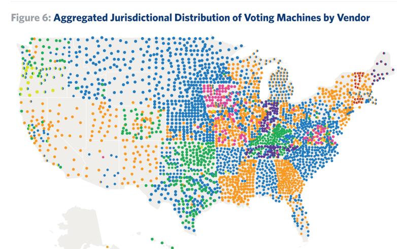 Locations of US voting machines: Dominion is shown in Orange; ES&S in Blue. (Source: Penn Warton)