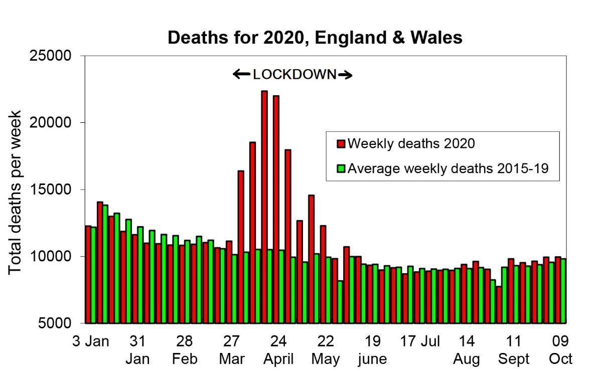 Figure: weekly data from the Office of National Statistics for 2020, comparing total mortality per week with an estimated average from the previous five years.