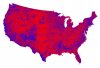 Red/Blue/Purple Counties.  Credit: Mark Newman/UMichigan/CC 3.0.