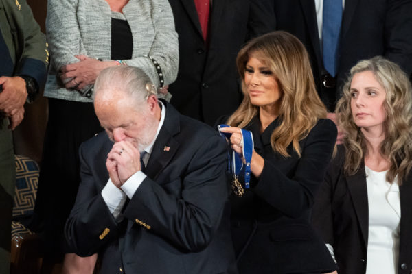February 4, 2020: Rush Limbaugh receives the Presidential Medal of Freedom. President Donald Trump delivers his State of the Union address in the House chamber at the U.S. Capitol in Washington. (Credit Image: © White House/ZUMA Wire/ZUMAPRESS.com)